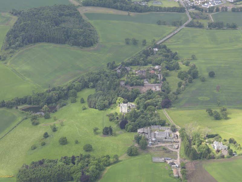 General oblique aerial view of Methven Castle, taken from the E.