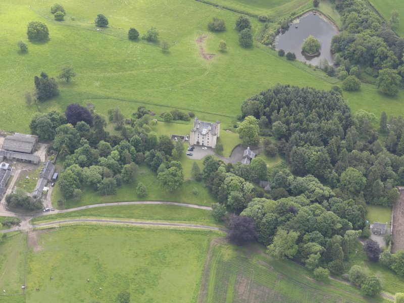 Oblique aerial view of Methven Castle, taken from the NNW.