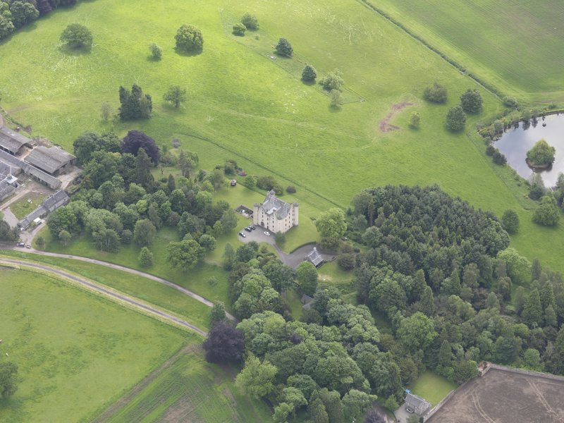 Oblique aerial view of Methven Castle, taken from the NW.