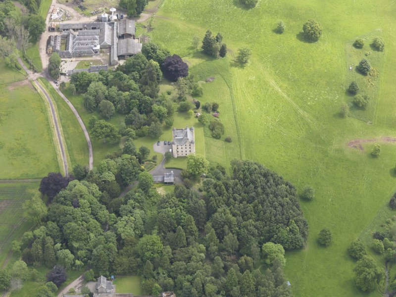 Oblique aerial view of Methven Castle, taken from the W.