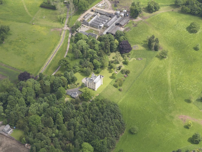 Oblique aerial view of Methven Castle, taken from the SW.