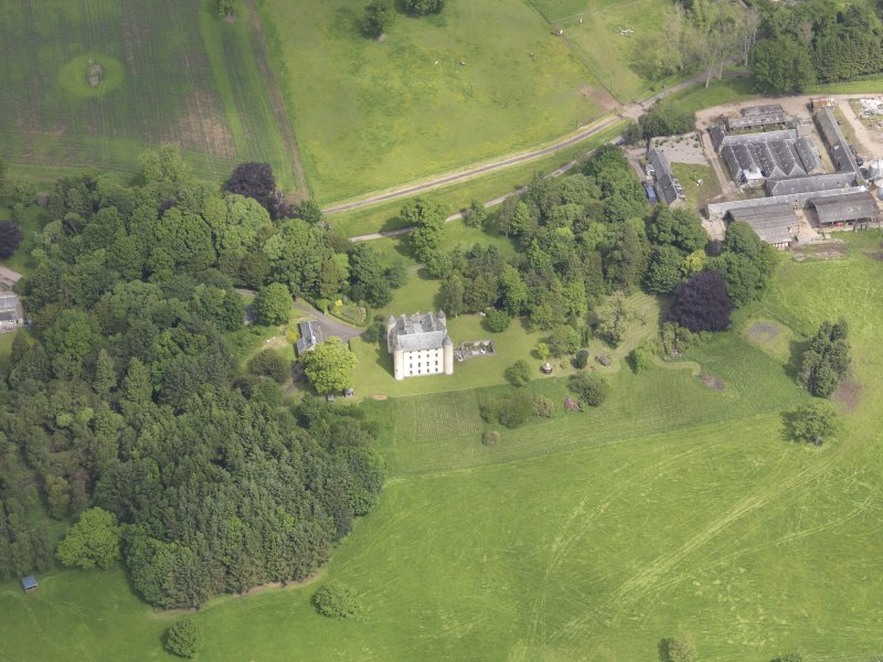 Oblique aerial view of Methven Castle, taken from the SSW.