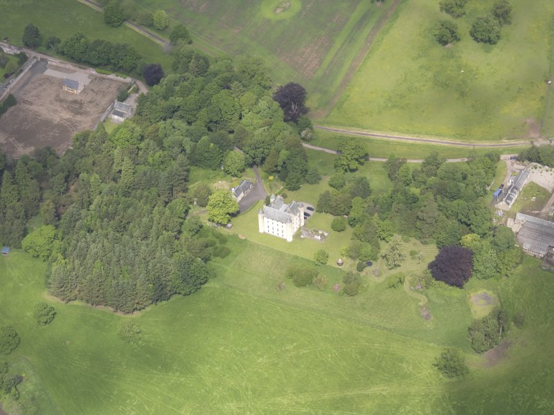 Oblique aerial view of Methven Castle, taken from the SSE.