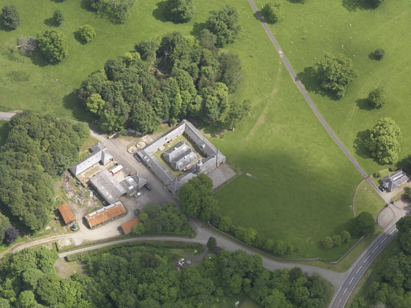 Oblique aerial view of Doune Park Stable Block, taken from the WSW.