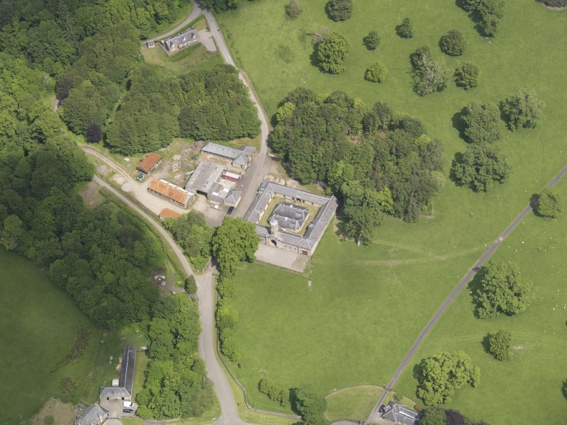 Oblique aerial view of Doune Park Stable Block, taken from the SSW.