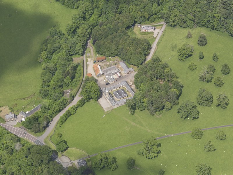 Oblique aerial view of Doune Park Stable Block, taken from the S.
