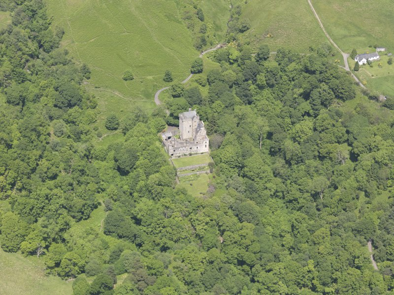 Oblique aerial view of Castle Campbell, taken from the S.