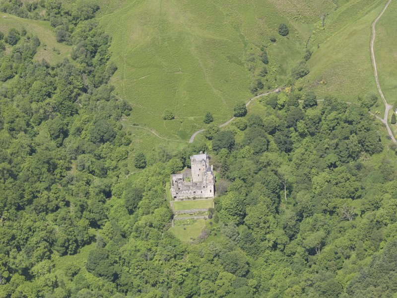 Oblique aerial view of Castle Campbell, taken from the SSE.