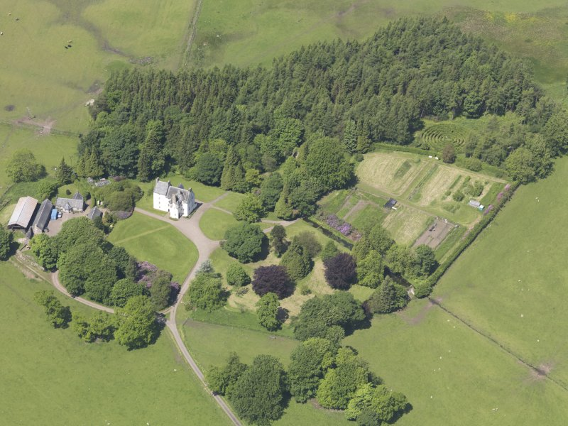 Oblique aerial view of Tullibole Castle, taken from the SE.