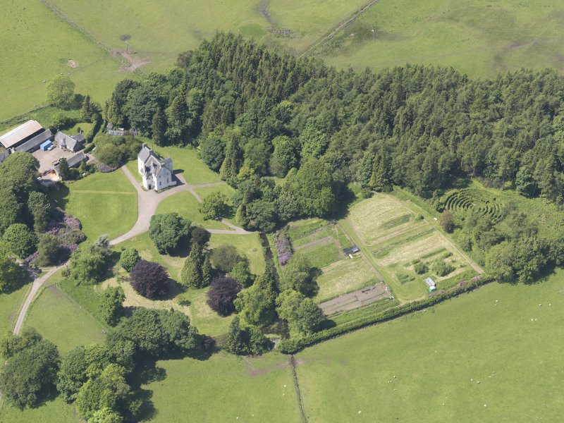 Oblique aerial view of Tullibole Castle, taken from the ESE.
