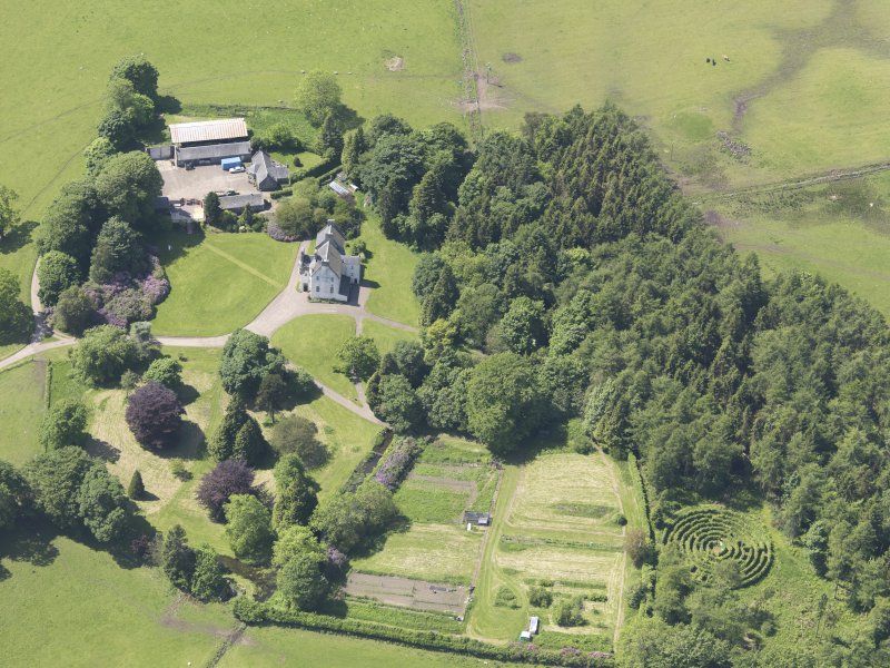 Oblique aerial view of Tullibole Castle, taken from the ENE.