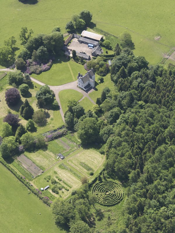 Oblique aerial view of Tullibole Castle, taken from the NNE.