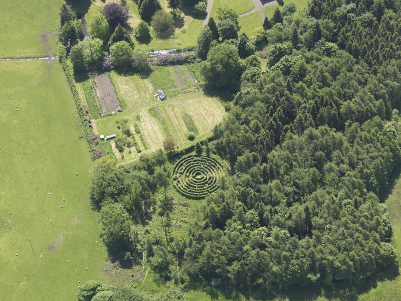 Oblique aerial view of Tullibole Castle, taken from the N.