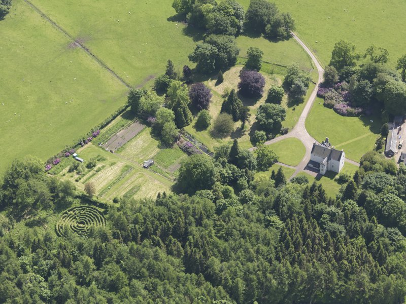 Oblique aerial view of Tullibole Castle, taken from the NW.