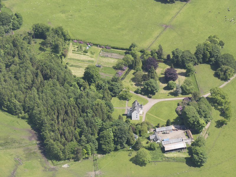Oblique aerial view of Tullibole Castle, taken from the WNW.