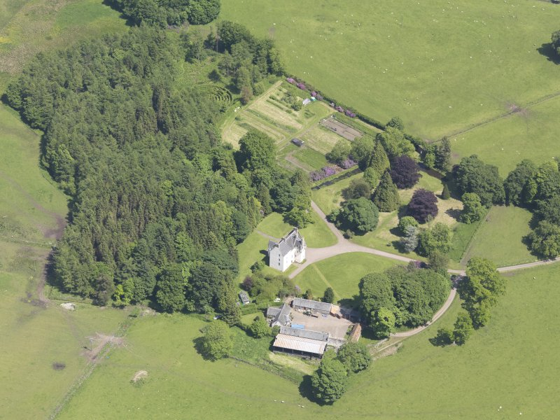 Oblique aerial view of Tullibole Castle, taken from the W.