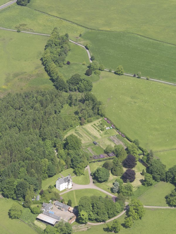 Oblique aerial view of Tullibole Castle, taken from the WSW.