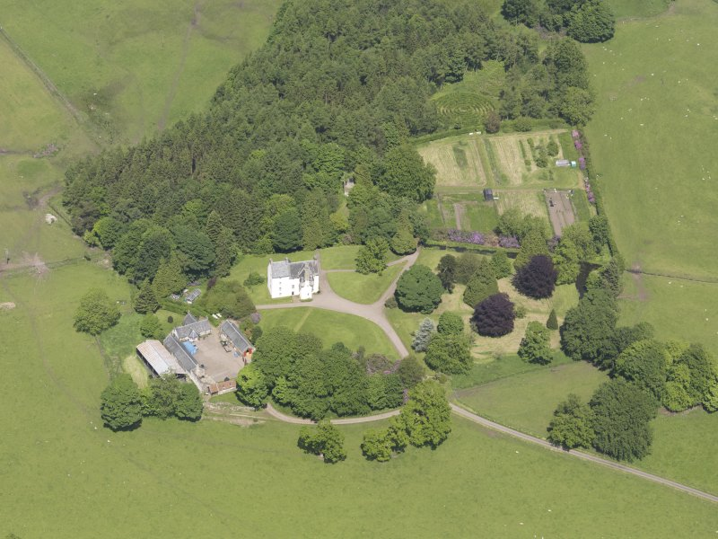 Oblique aerial view of Tullibole Castle, taken from the S.