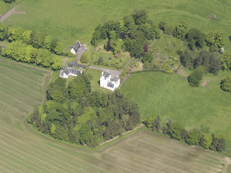 Oblique aerial view of Aldie Castle, taken from the SW.