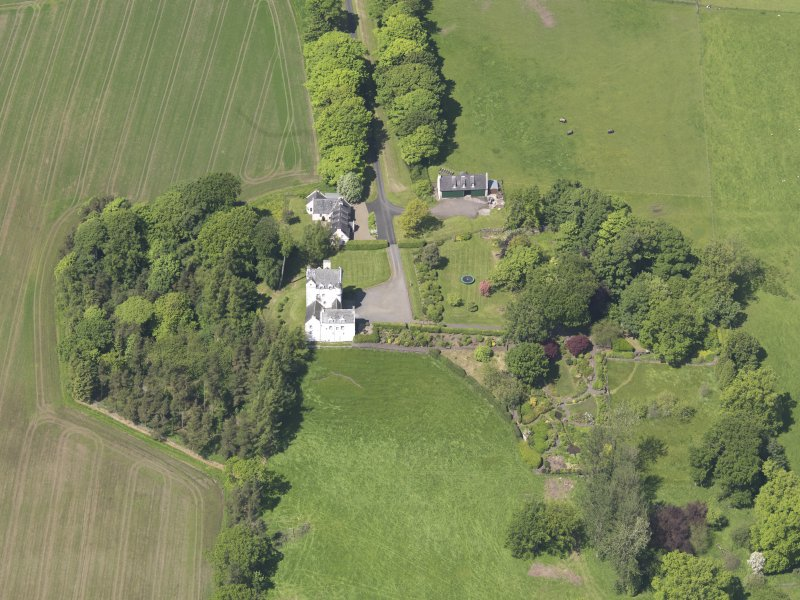 Oblique aerial view of Aldie Castle, taken from the SE.
