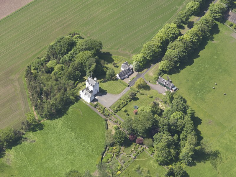 Oblique aerial view of Aldie Castle, taken from the E.