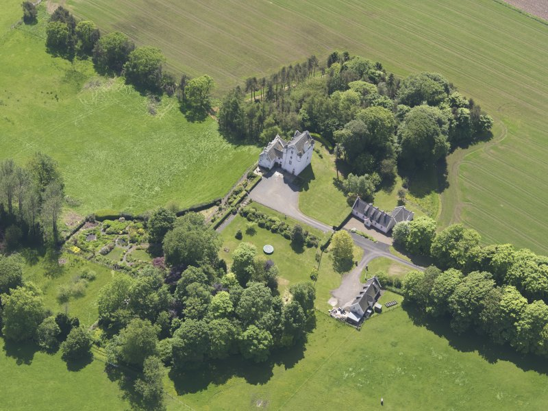 Oblique aerial view of Aldie Castle, taken from the NE.