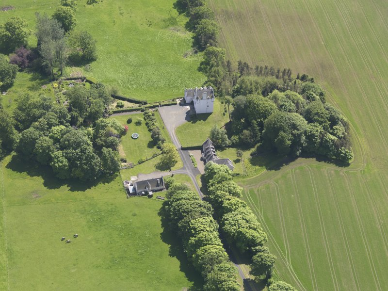 Oblique aerial view of Aldie Castle, taken from the NNW.