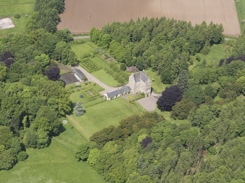 Oblique aerial view of Cleish Castle, taken from the SSE.
