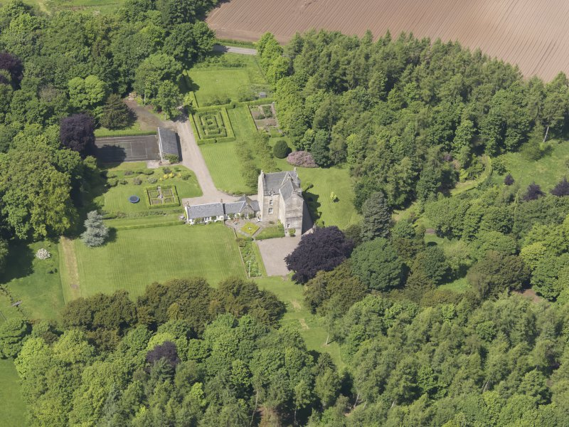 Oblique aerial view of Cleish Castle, taken from the SE.