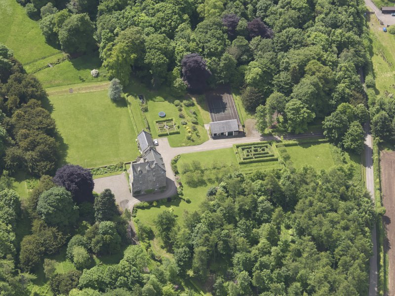 Oblique aerial view of Cleish Castle, taken from the NE.