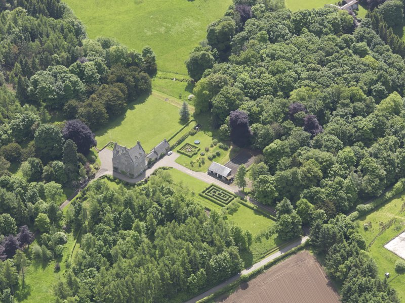 Oblique aerial view of Cleish Castle, taken from the N.