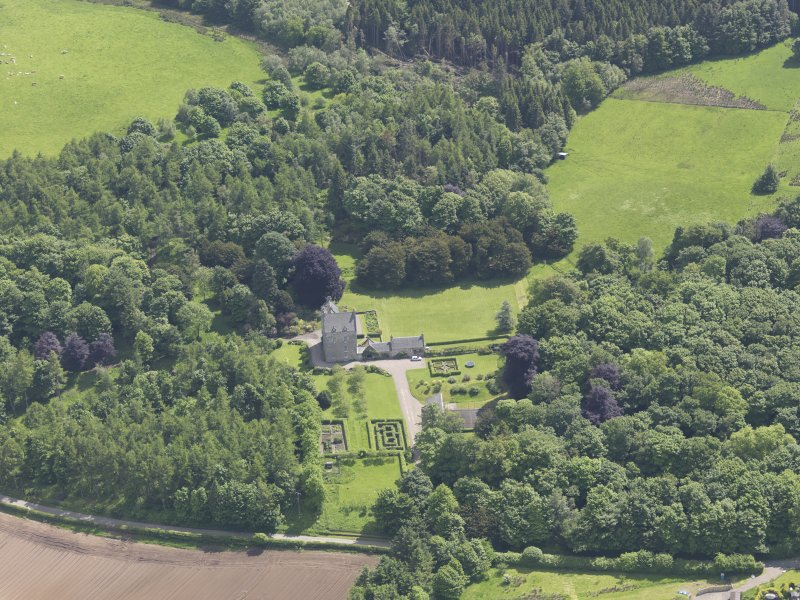 Oblique aerial view of Cleish Castle, taken from the NW.