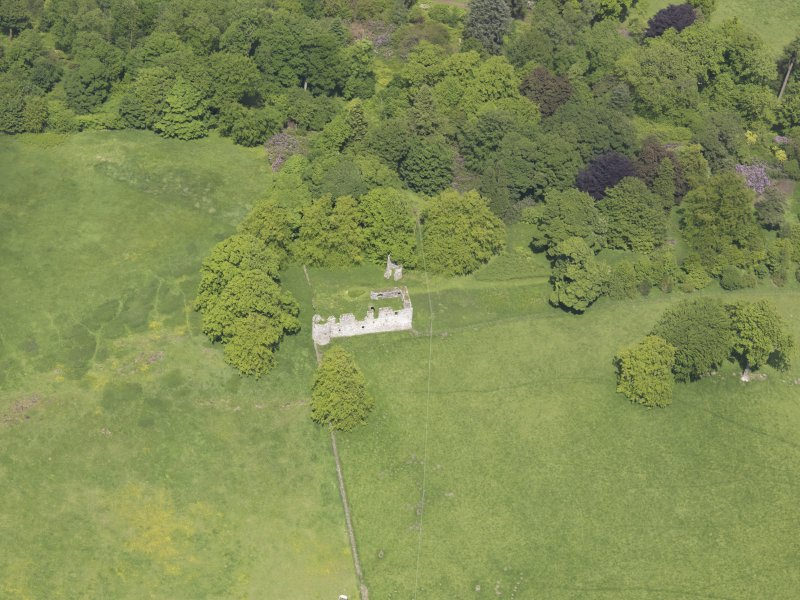 Oblique aerial view of Dowhill Castle, taken from the S.