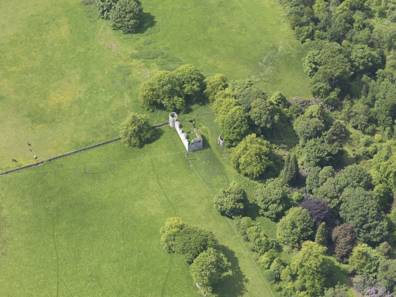 Oblique aerial view of Dowhill Castle, taken from the E.