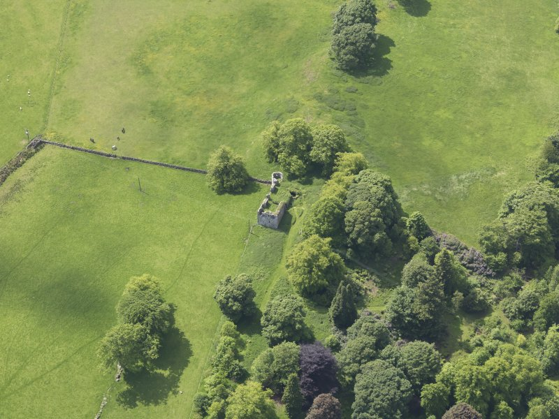 Oblique aerial view of Dowhill Castle, taken from the ENE.