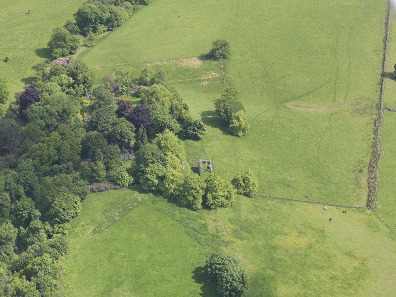 Oblique aerial view of Dowhill Castle, taken from the W.