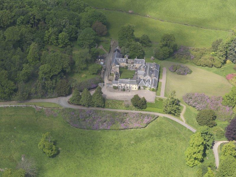 Oblique aerial view of Blair Adam Country House, taken from the SSE.