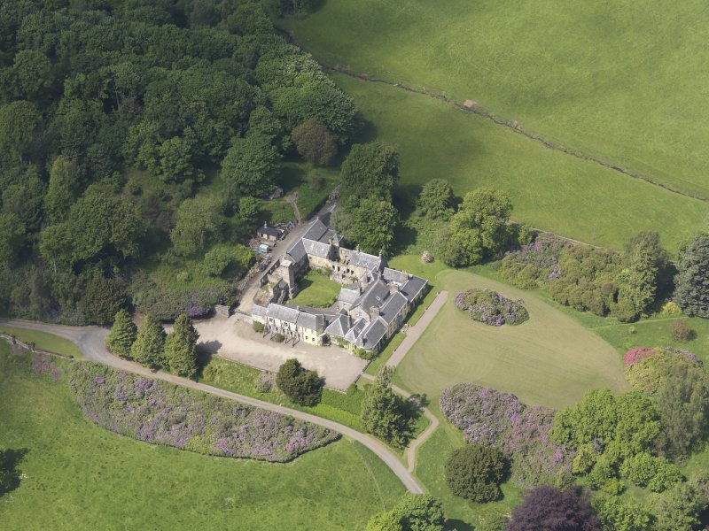 Oblique aerial view of Blair Adam Country House, taken from the SE.