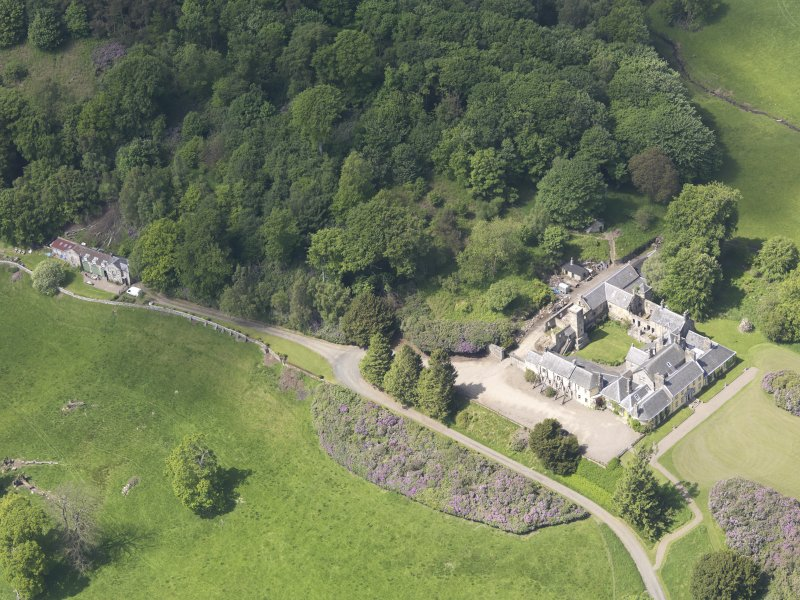 Oblique aerial view of Blair Adam Country House, taken from the ESE.
