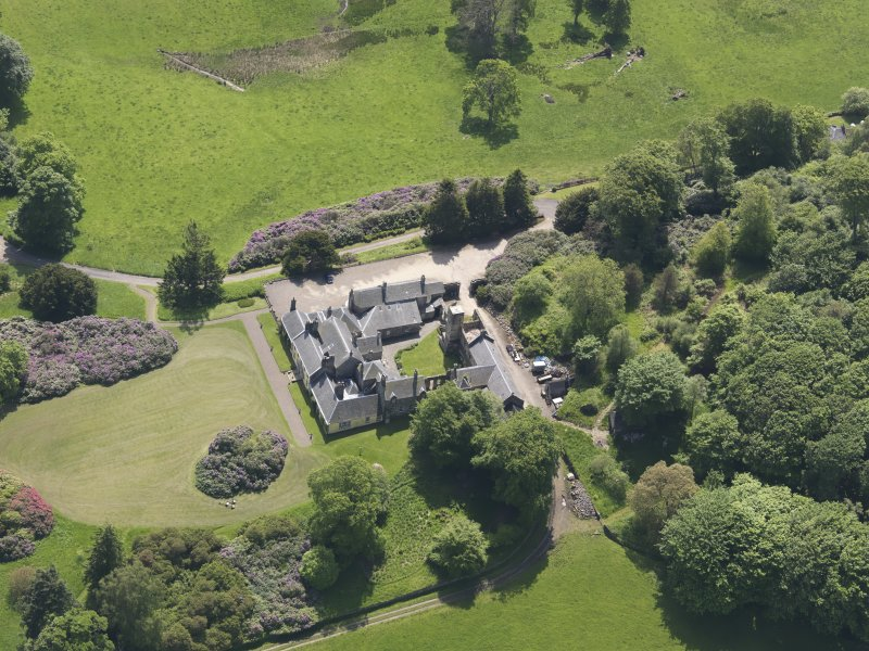 Oblique aerial view of Blair Adam Country House, taken from the N.