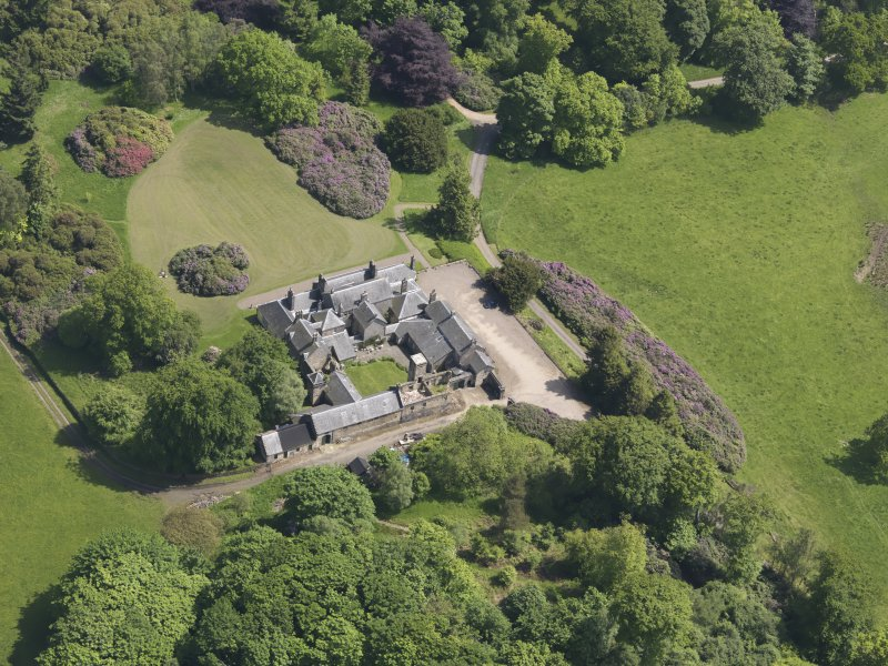 Oblique aerial view of Blair Adam Country House, taken from the W.