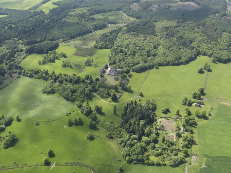 General oblique aerial view of Blair Adam Country House, taken from the NE.