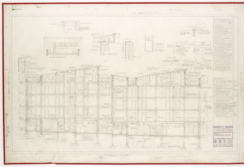 Longitudal section and sectional elevation G-G.  Includes details of roof fixings, tie beams and steel posts. Title: Block 1.  Longitudinal Sectional
