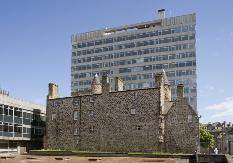 View from north west across car park roof to St Nicholas House and Provost Skene's House.