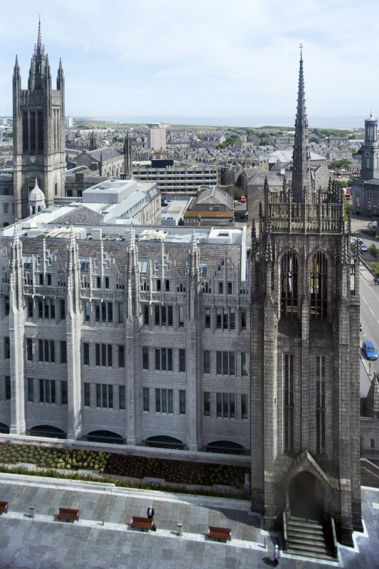 View of Greyfriars and Marischal College spires from St Nicholas House.