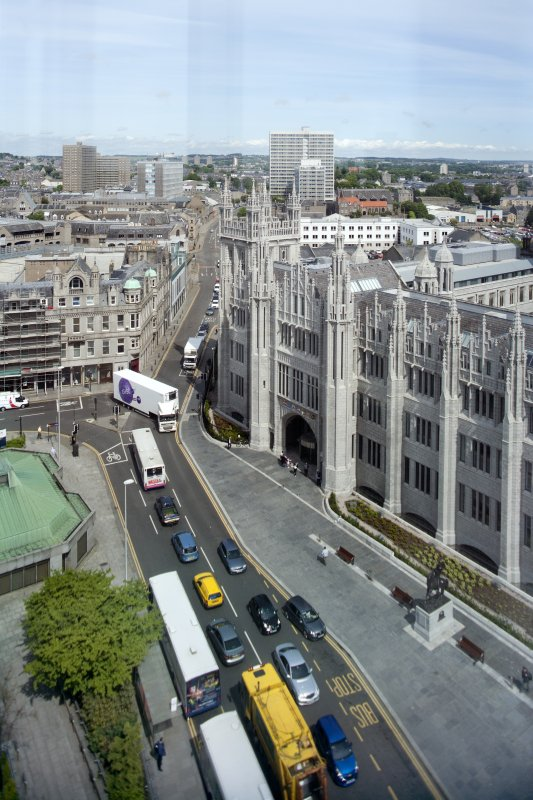 View along Broad Street and Gallowgate showing Marischal College, taken from St Nicholas House.