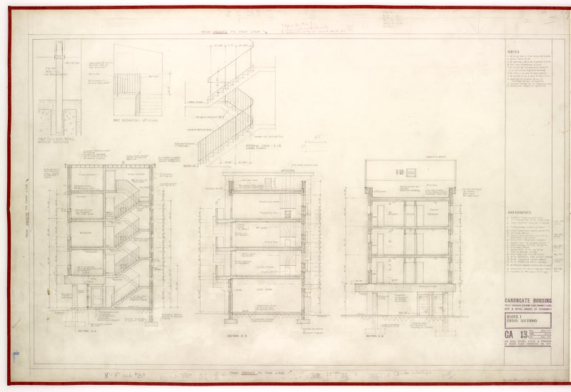 Cross sections and part elevation of 4th floor.  Includes detail of internal stairs.   Title: Block 1. Cross Sections