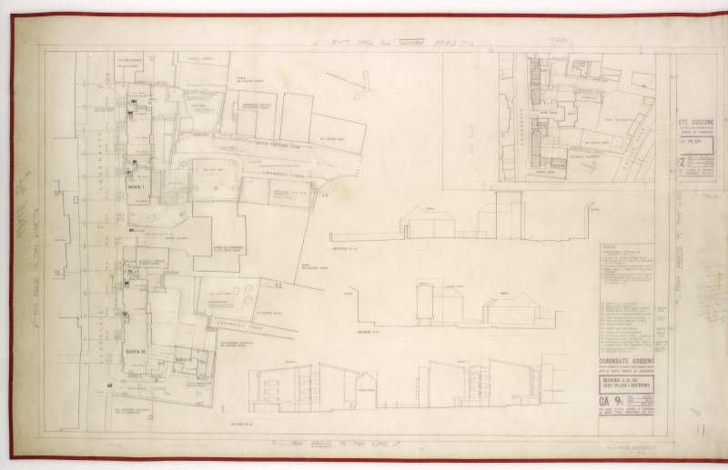 Site plans and sections, Title: Block I, II, II. Site Plan & Sections
