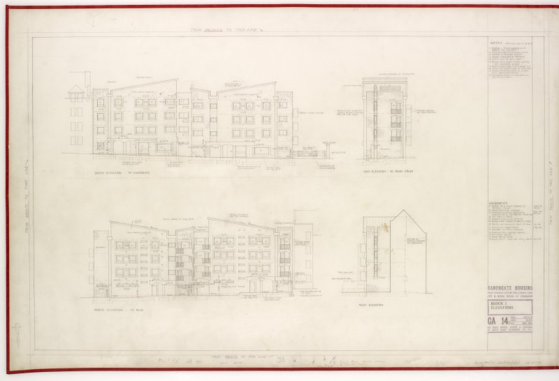 Sections and elevations. Title: Block I Elevations