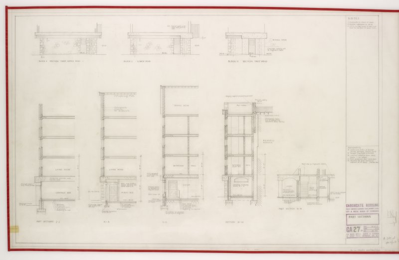 Part section.  Includes Section through Block I and II pend. Title: Part sections.